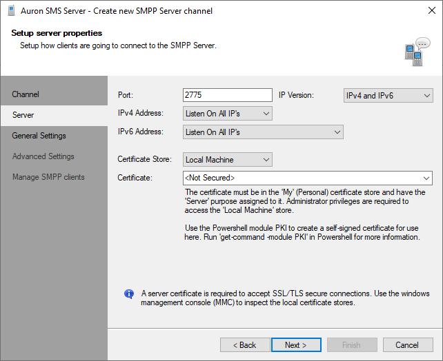 Edit SMPP Server channel