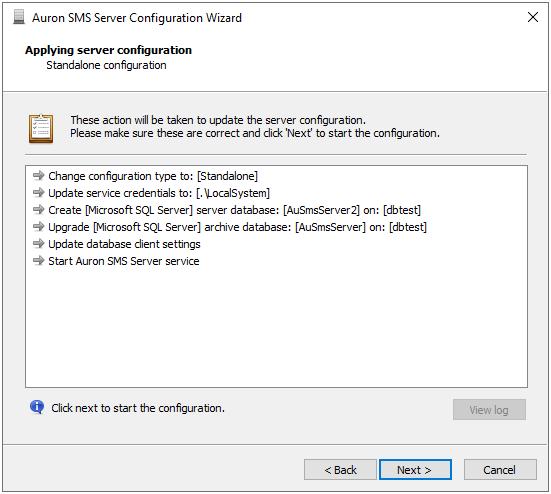 Configuration Wizard - Finish Configuration