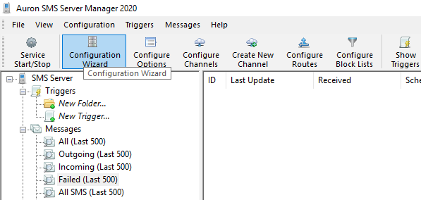 Configuration Wizard icon in the toolbar
