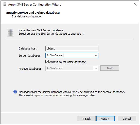 Configuration Wizard - Database