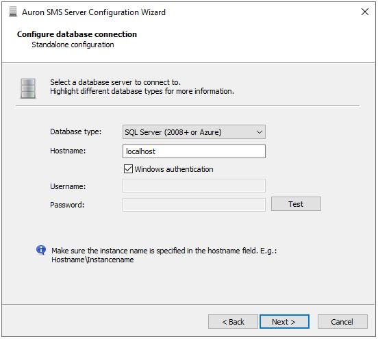 Configuration Wizard - Database Type