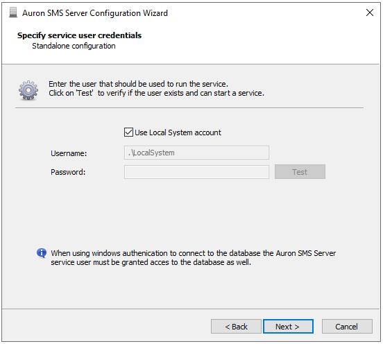 Configuration Wizard - Service User