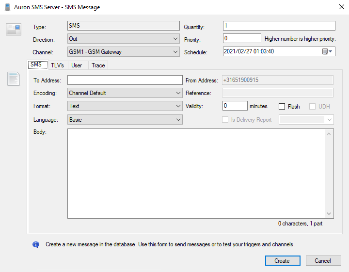 SMS Server Manager - Create new SMS