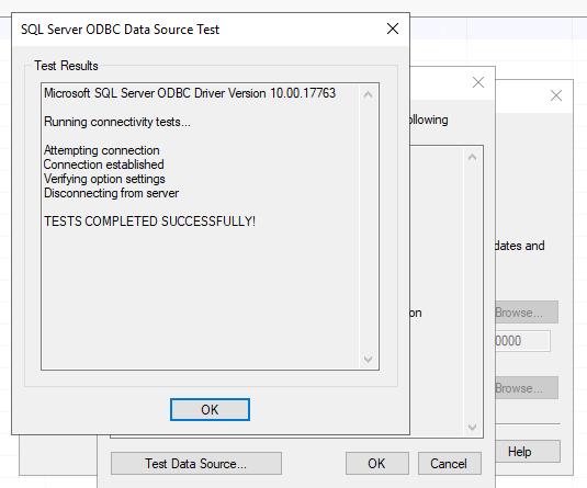 ODBC datasource test successfull