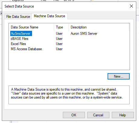Select the Auron SMS Server data source