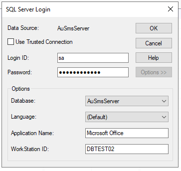 SMS Server database credentials