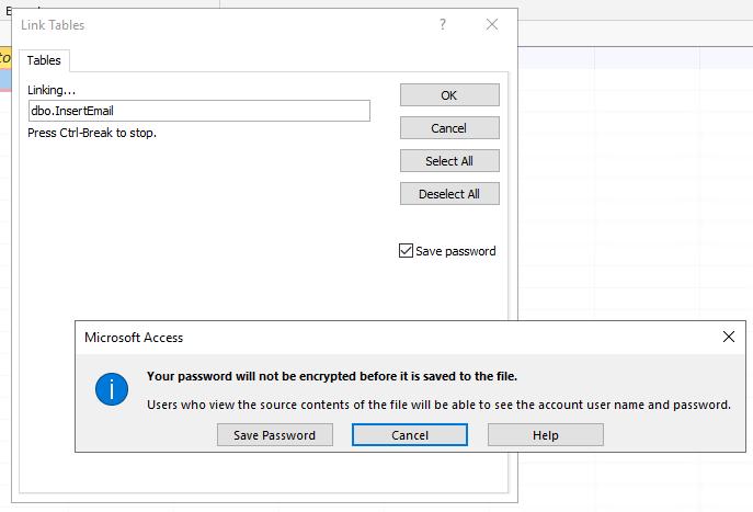 Warning about saving the password