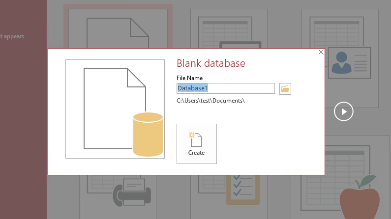 Create a new MS Access database
