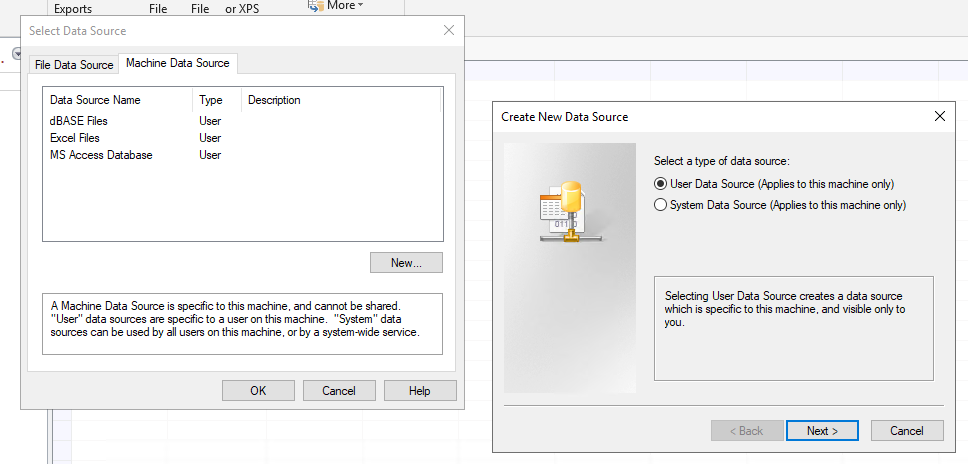 Create a new ODBC data source