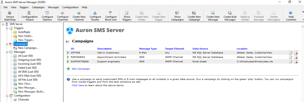 SMS Server 2020R2 - Campaign View