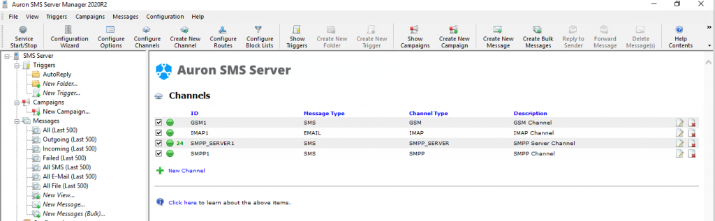 SMS Server 2020R2 - Channel View