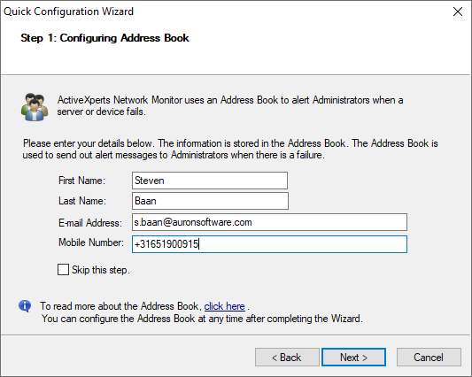 Quick Configuration Wizard - Address Book