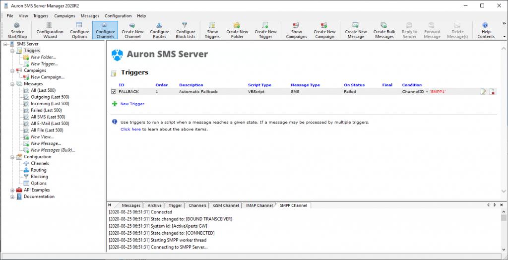 SMS Server Manager - Enabled Trigger