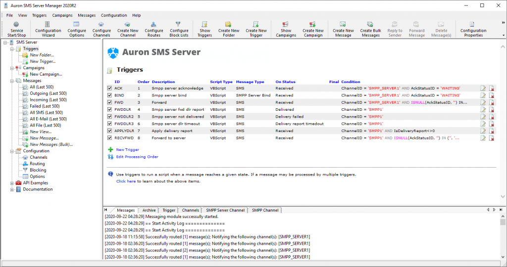 SMS Server Manager - All Triggers