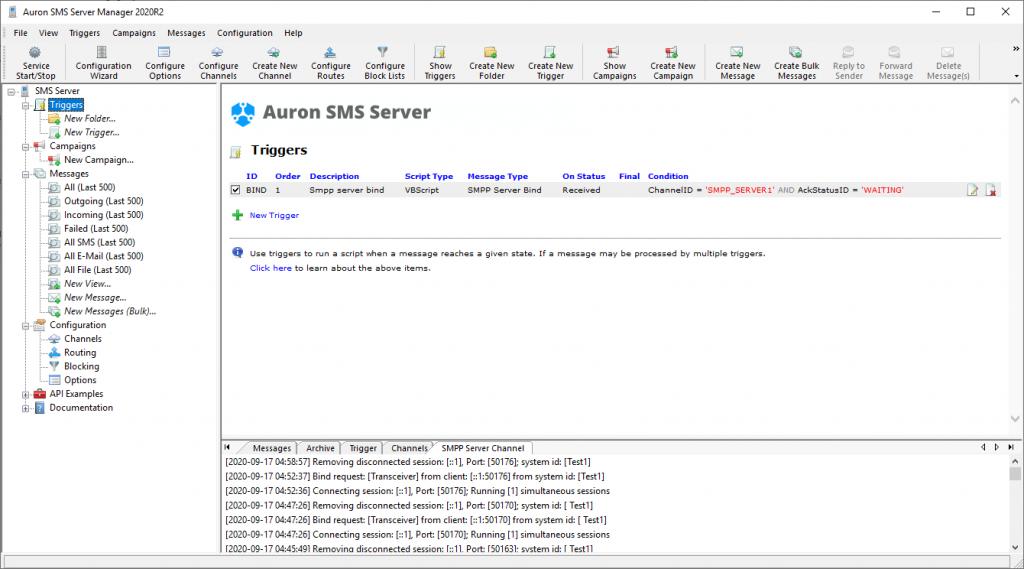 SMS Server Manager - Bind Trigger