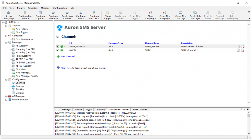 SMS Server Manager - Channels