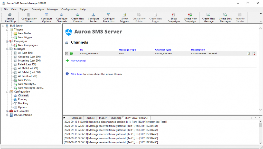 Manager - SMPP Server Channel