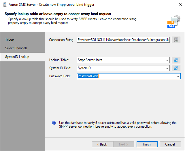 Create SMPP Server Bind Trigger