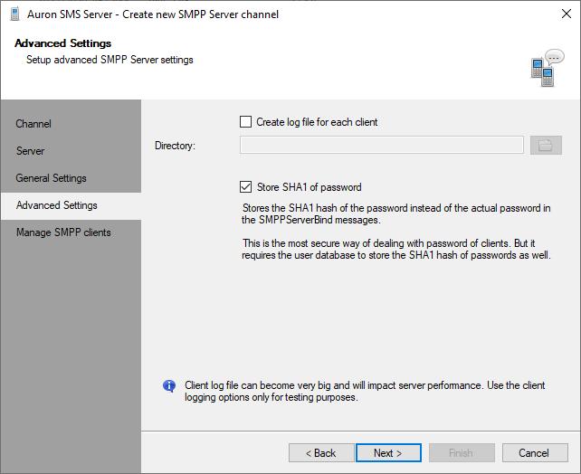SMPP Server Channel - Store Password Hash