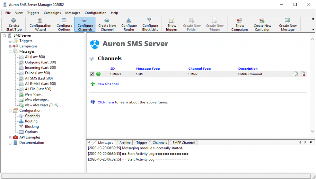 SMS Server with an SMS channel configured